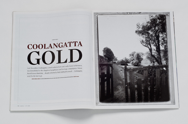 "METRO MAGAZINE-FEATURE ON THE DEMOLITION OF ""COOLANGATTA"" HOMESTEAD"